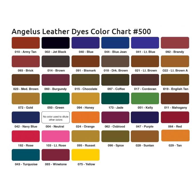 Tabella colori tinture Angelus